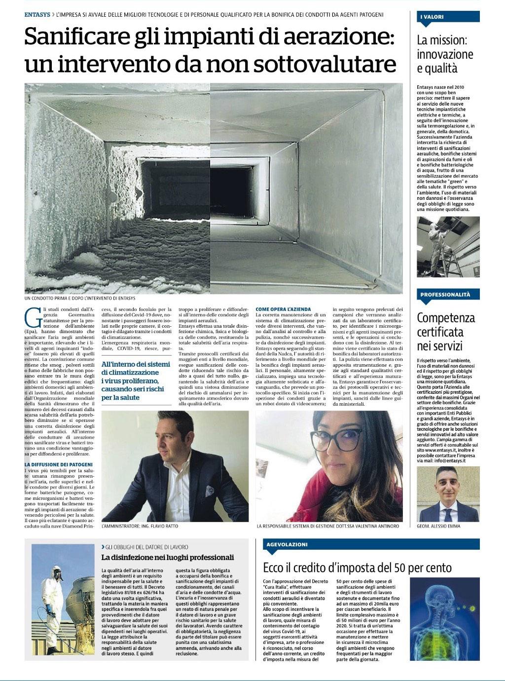 Entasys su La Repubblica